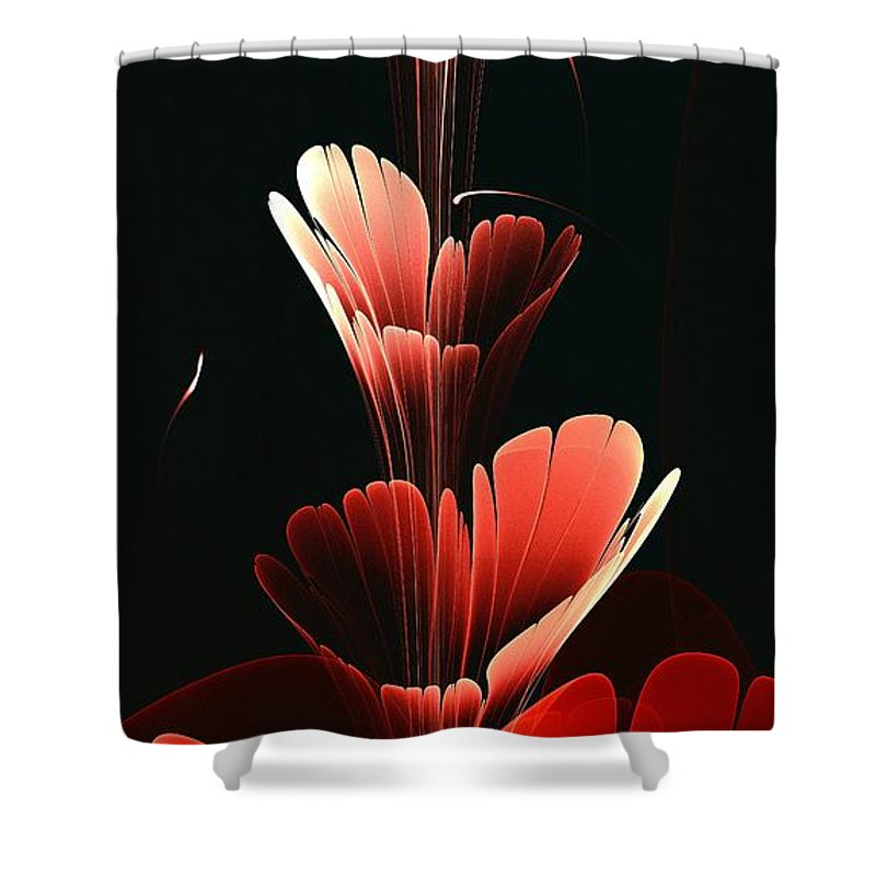 Plant Shower Curtain featuring the digital art Bright Red by Anastasiya Malakhova