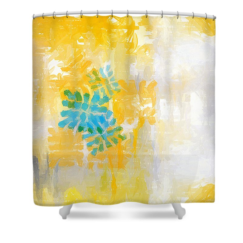 Yellow Shower Curtain featuring the painting Bright Summer by Lourry Legarde