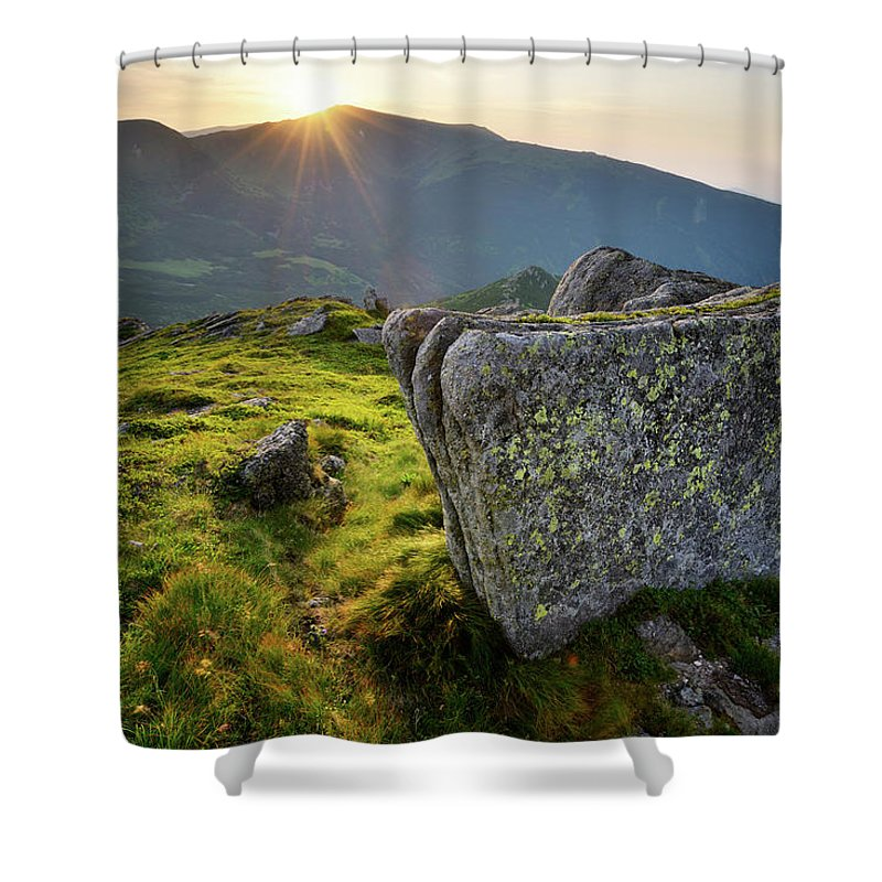 Scenics Shower Curtain featuring the photograph Bright Sunset Landscape In Mountains by Rezus