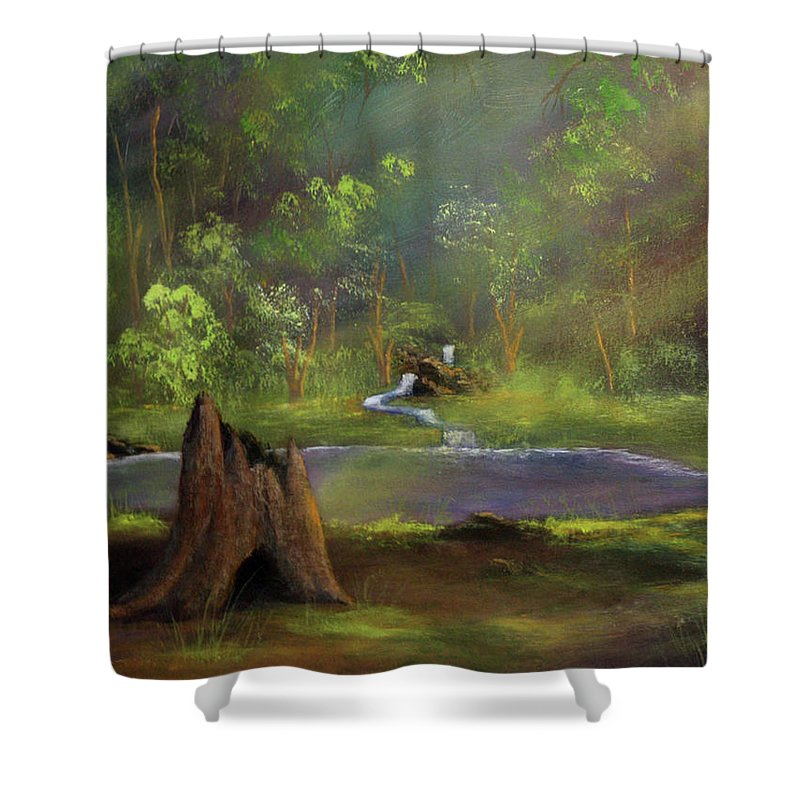 Stump Shower Curtain featuring the painting Brightening by Dawn Blair
