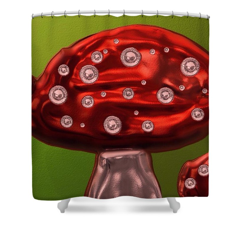 Toadstool Shower Curtain featuring the painting Brightest Toadstool by Karen Harding