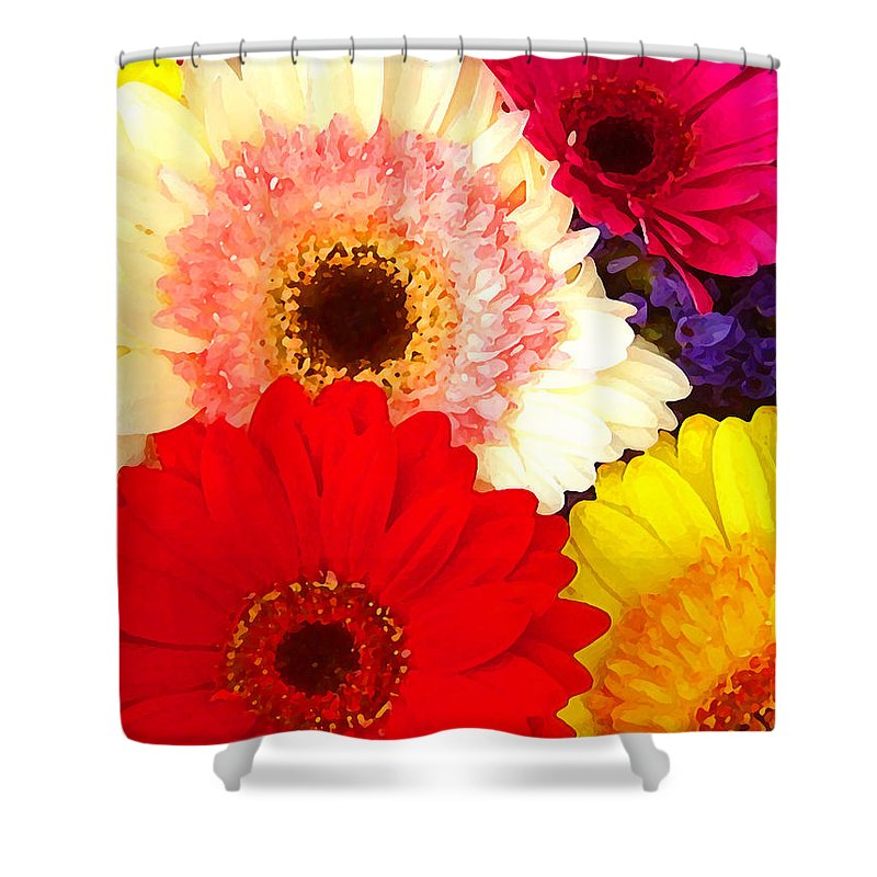Daisies Shower Curtain featuring the painting Brightly Colored Gerbers by Amy Vangsgard