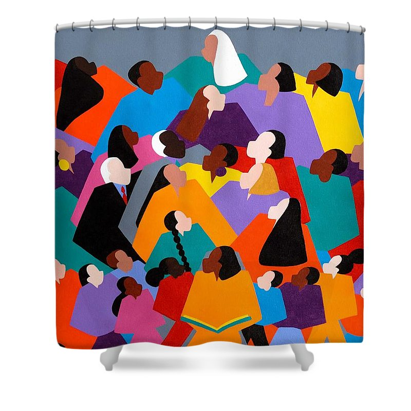 Figurative Shower Curtain featuring the painting Brilliance by Synthia SAINT JAMES