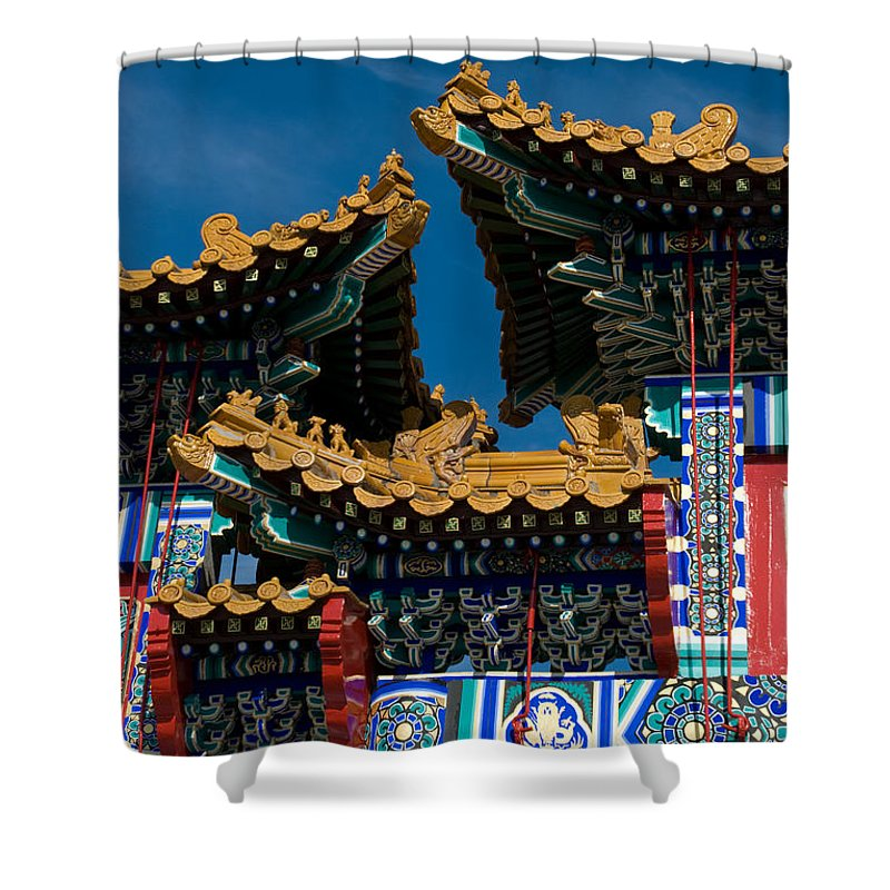 Asia Shower Curtain featuring the photograph Brilliant Blues by Venetta Archer