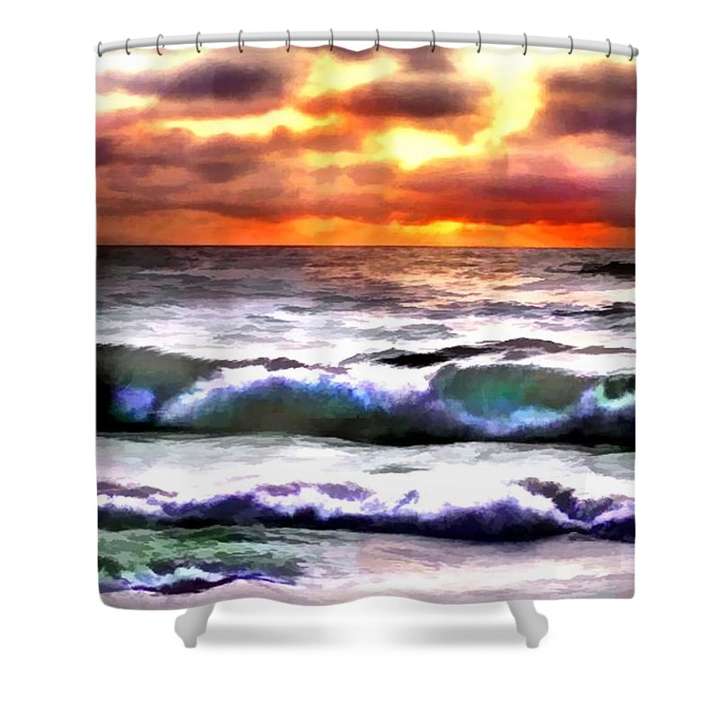 Ocean Shower Curtain featuring the painting Brilliant Nags Head Sunrise by Elaine Plesser