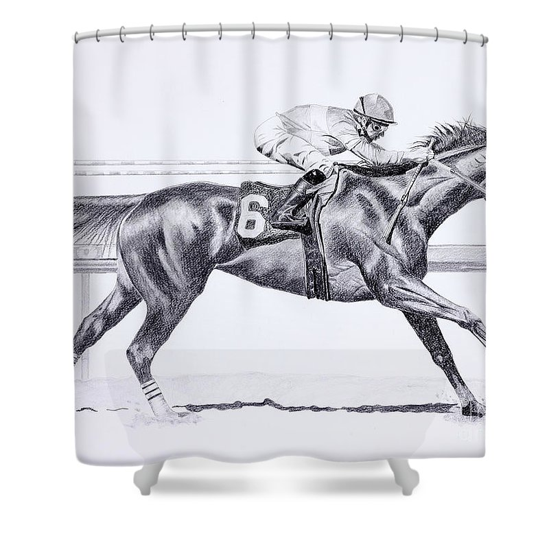 Zenyatta Prints Shower Curtain featuring the drawing Bring On The Race Zenyatta by Joette Snyder