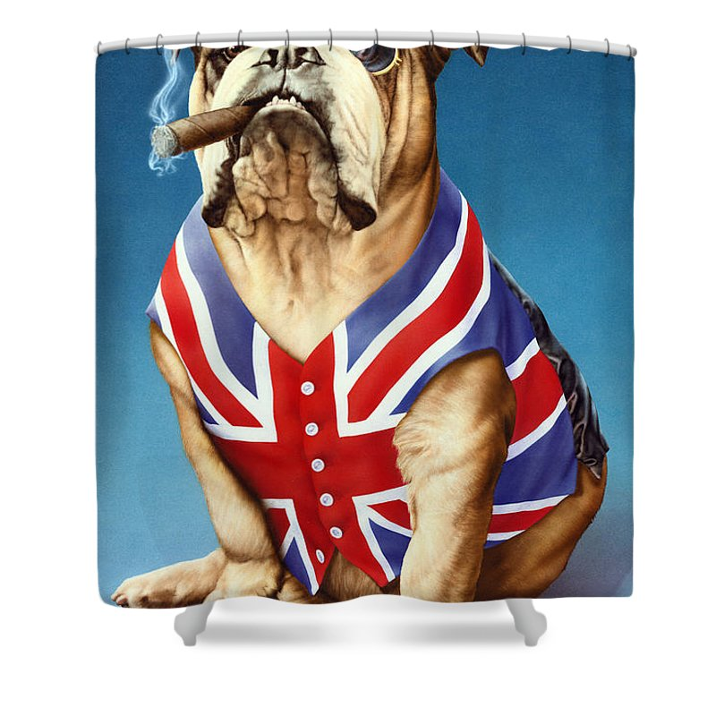 British Bulldog Shower Curtain For Sale By MGL Meiklejohn Graphics Licensing