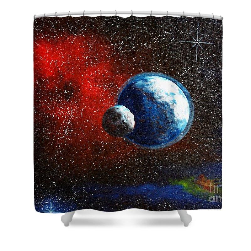 Astro Shower Curtain featuring the painting Broken Moon by Murphy Elliott