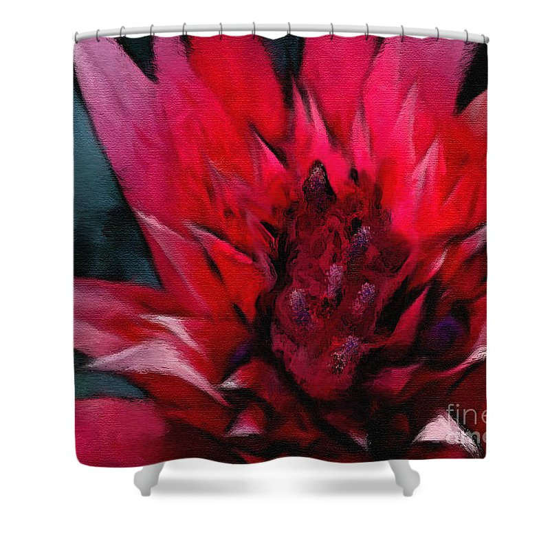 Floral Shower Curtain featuring the painting Bromeliad Splendor by Kat Solinsky