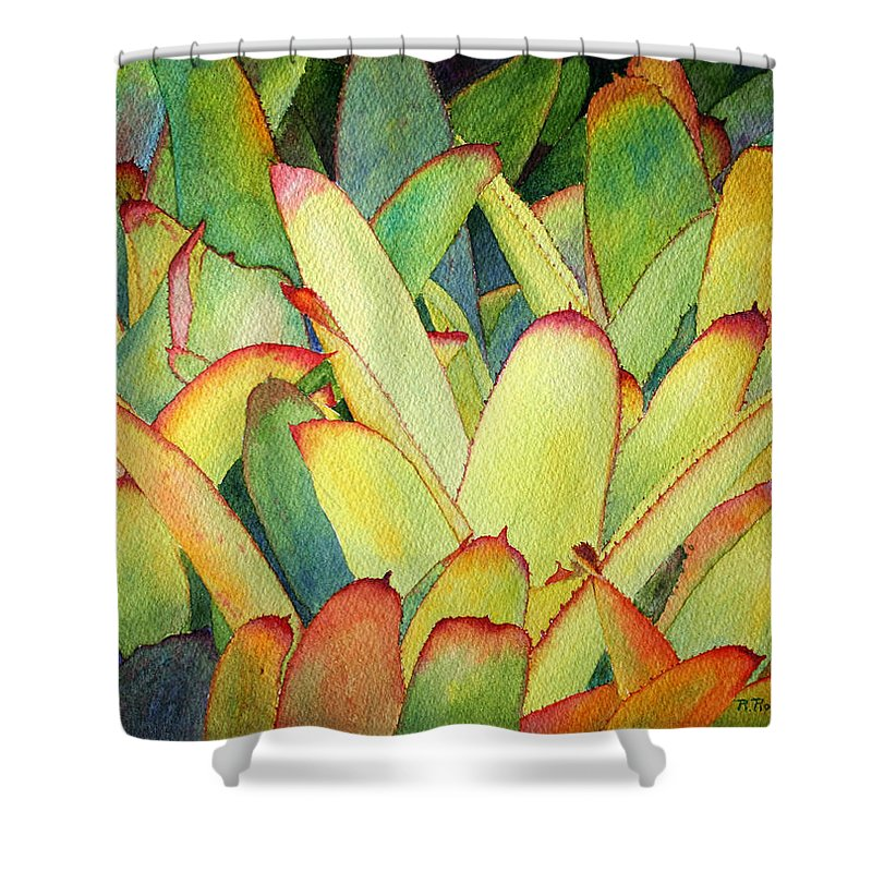 Flowers Shower Curtain featuring the painting Bromeliads I by Roger Rockefeller