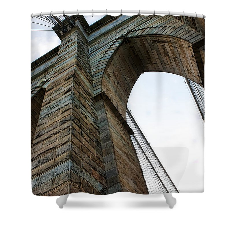 New York Shower Curtain featuring the photograph Brooklyn Bridge New York by Evie Carrier