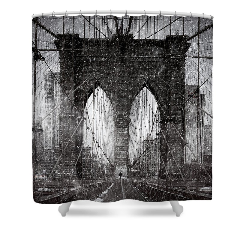 Brooklyn Shower Curtain featuring the photograph Brooklyn Bridge Snow Day by Chris Lord