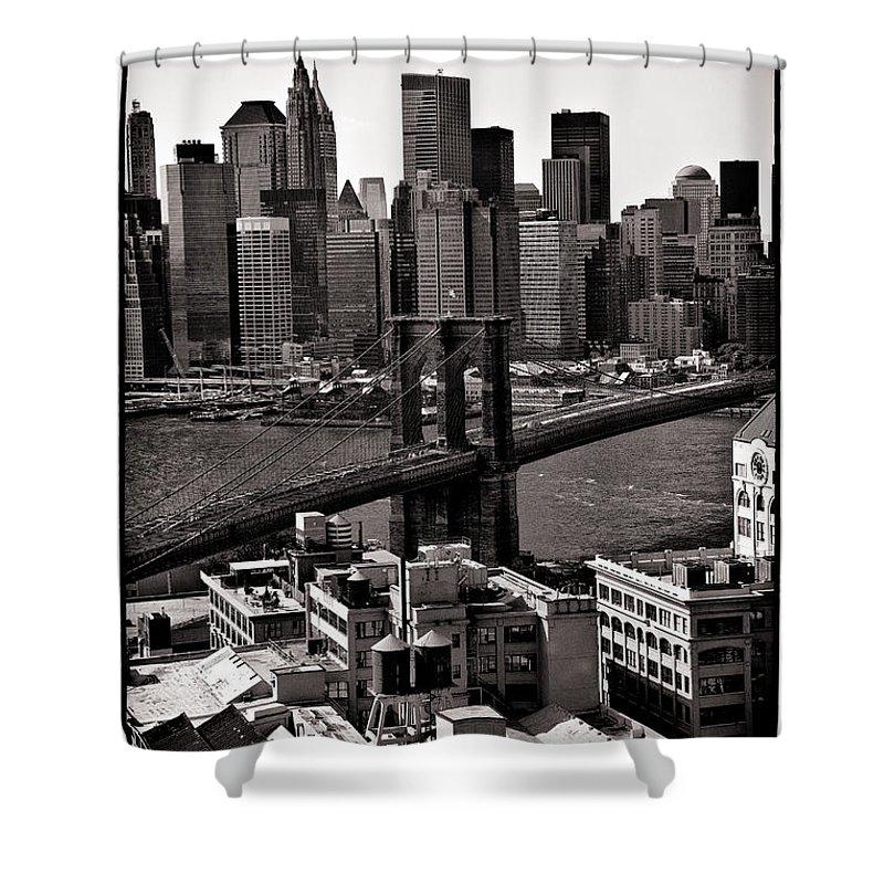 Brooklyn Bridge Shower Curtain featuring the photograph Brooklyn Bridge View In Sepia by Madeline Ellis