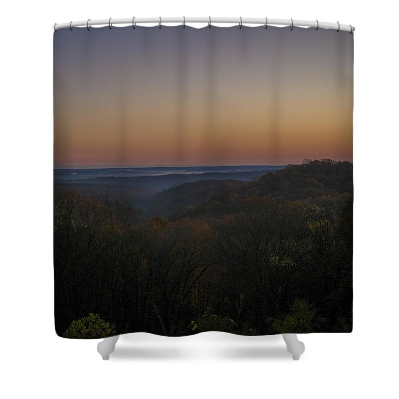 Brown County State Park Shower Curtain featuring the photograph Brown County State Park Nashville Indiana Sunrise by David Haskett II