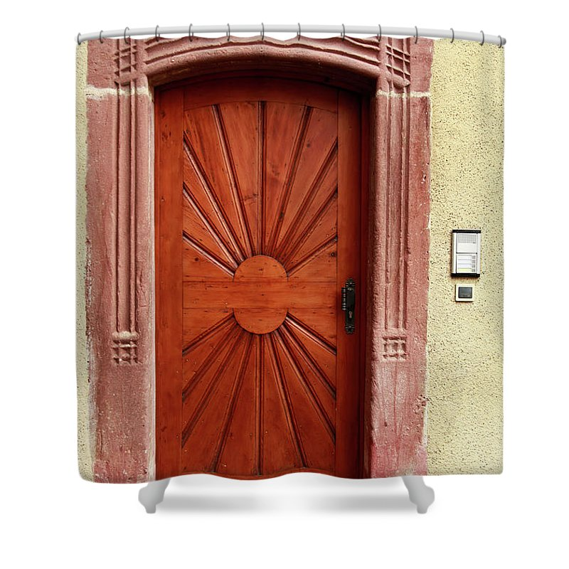 Apartment Shower Curtain featuring the photograph Brown Door Exterior Entrance by Bendebruyn