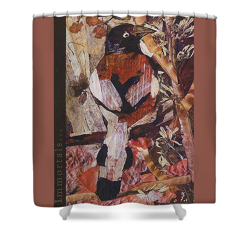 Brown-white-bird Shower Curtain featuring the mixed media Brown- White Bird by Basant Soni