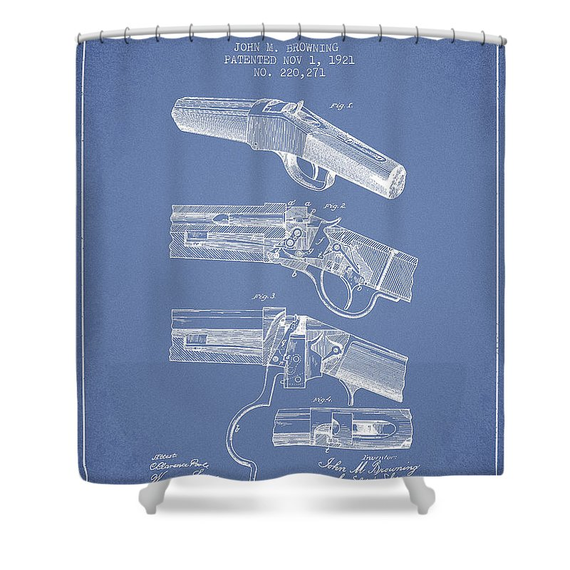 Rifle Patent Shower Curtain Featuring The Digital Art Browning Drawing From 1921