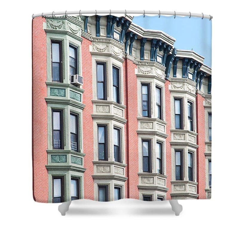 Brownstones Shower Curtain featuring the photograph Brownstone Art Hoboken Nj by Regina Geoghan