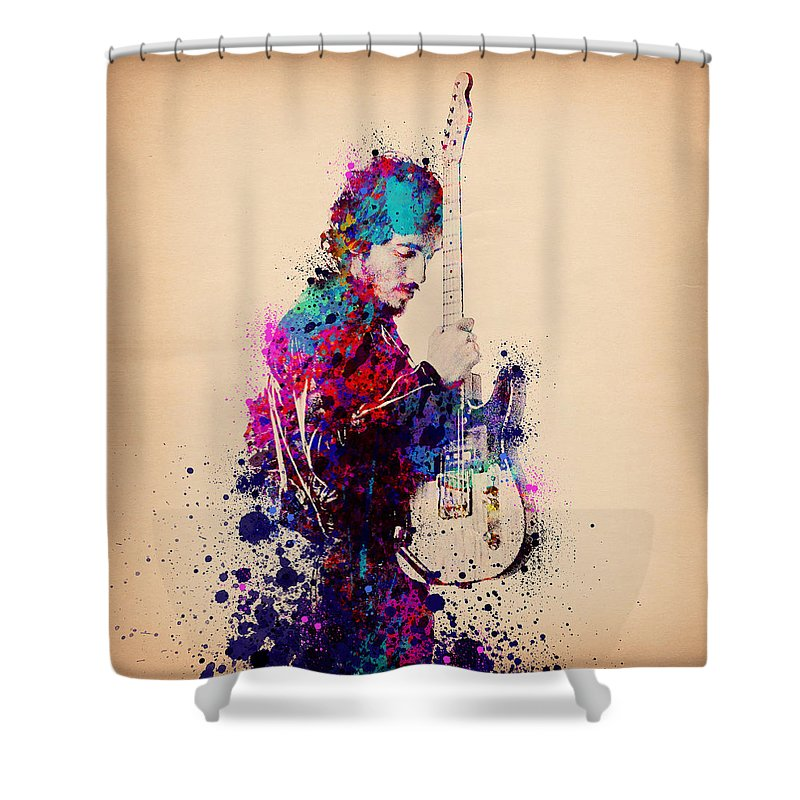 Music Shower Curtain featuring the painting Bruce Springsteen Splats And Guitar by Bekim M