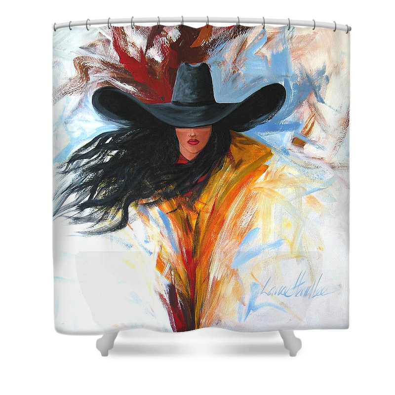 Cowgirl Shower Curtain featuring the painting Brushstroke Cowgirl by Lance Headlee