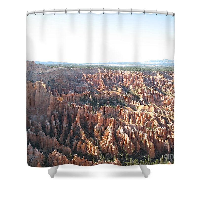 Rocks Shower Curtain featuring the photograph Bryce Canyon Scenic Overlook by Christiane Schulze Art And Photography