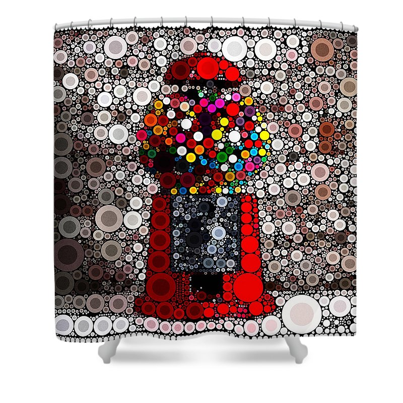 Bubble Gum Shower Curtain featuring the mixed media Bubble Gum Goodness by Russell Pierce