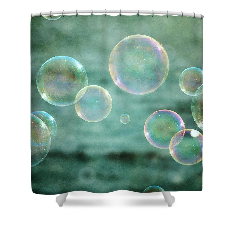 Bubbles Shower Curtain featuring the photograph Bubbles in Teal and Pink by Lisa R