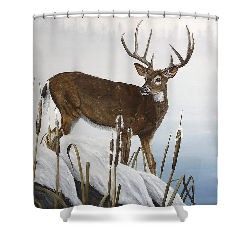 Buck Shower Curtain featuring the painting Buck At Waters Edge by Johanna Lerwick