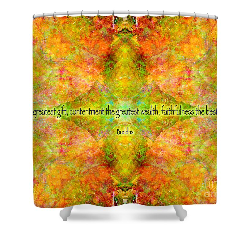 Rainbow Shower Curtain featuring the digital art Budda Quote On Life by Susan Bloom