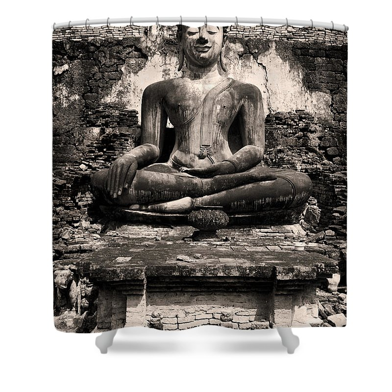 Antique Shower Curtain featuring the photograph Buddha In Meditation Statue by Artur Bogacki