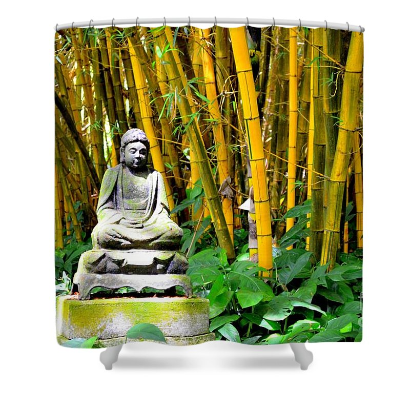 Buddha Shower Curtain featuring the photograph Buddha In The Bamboo Forest by Mary Deal