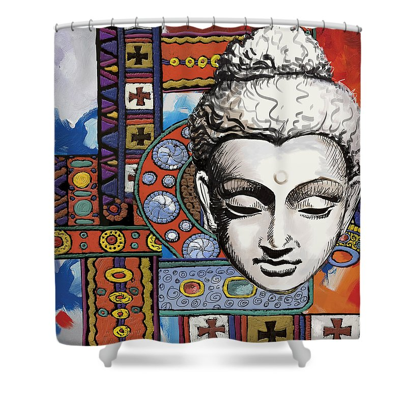 Corporate Art Task Force Framed Prints Framed Prints Shower Curtain featuring the painting Buddha Tapestry Style by Corporate Art Task Force