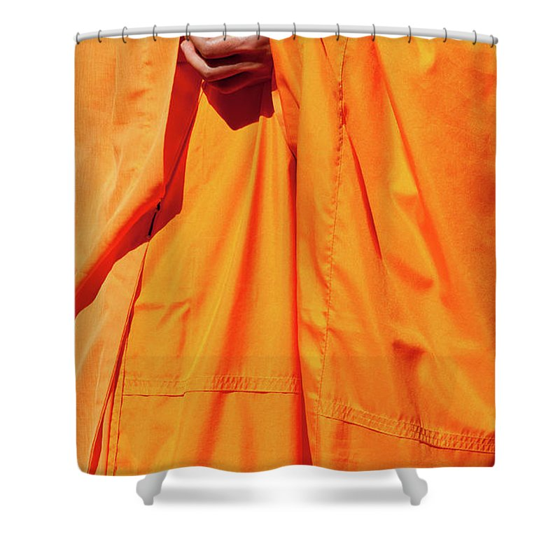 Buddhist Monk Shower Curtain featuring the photograph Buddhist Monk 02 by Rick Piper Photography