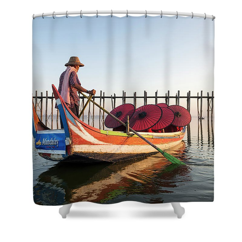 Young Men Shower Curtain featuring the photograph Buddhist Monks And Sightseeing Boat by Martin Puddy