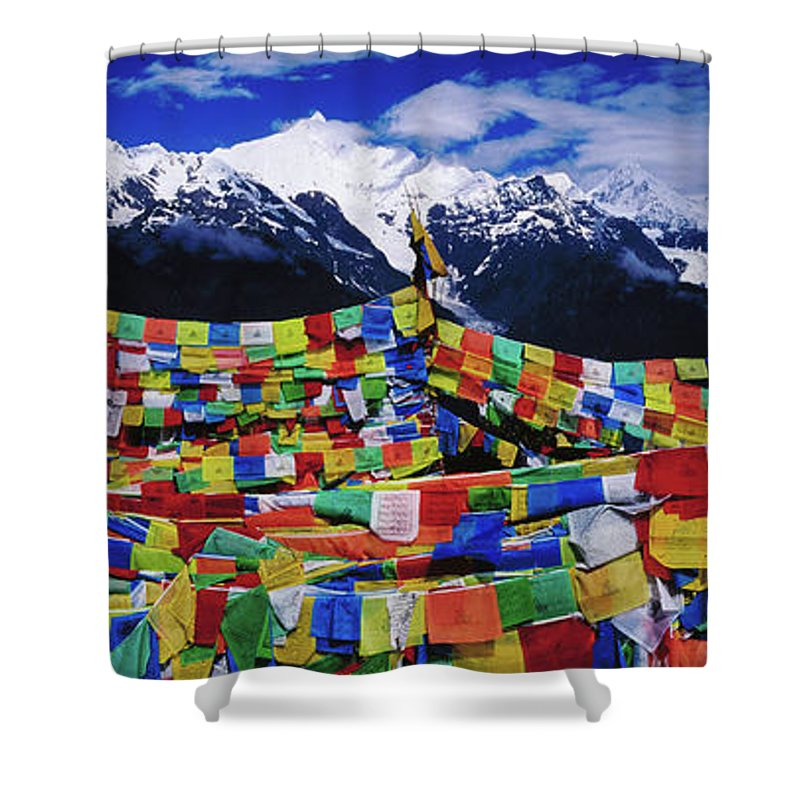 Chinese Culture Shower Curtain featuring the photograph Buddhist Prayer Flags With Meili by Richard I'anson