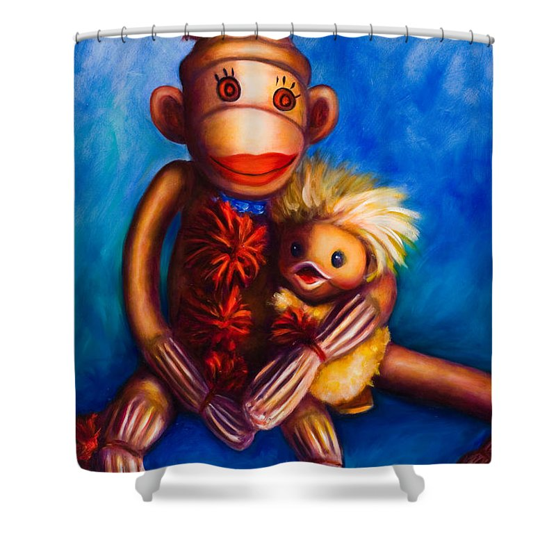 Sock Monkeys Brown Shower Curtain featuring the painting Buddies by Shannon Grissom