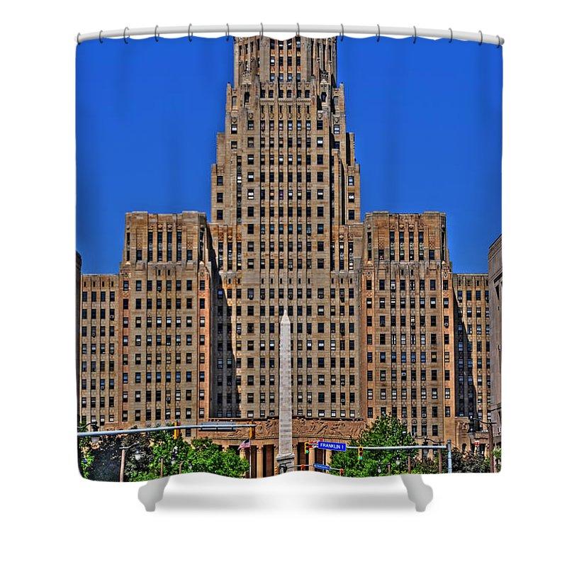 Buffalo Marathon Shower Curtain featuring the photograph Buffalo Marathon 2013 City Hall View by Michael Frank Jr