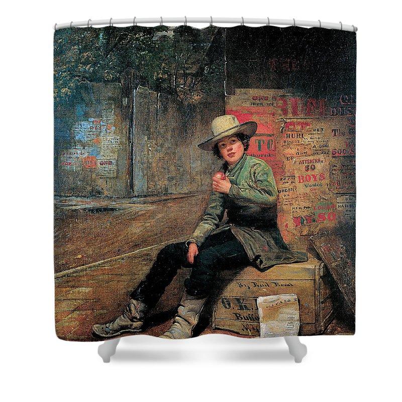 Thomas Le Clear Shower Curtain featuring the digital art Buffalo Newsboy by Thomas Le Clear