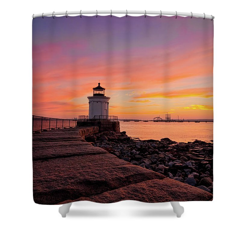 Built Structure Shower Curtain featuring the photograph Bug Light Sunrise 1899 by Www.cfwphotography.com