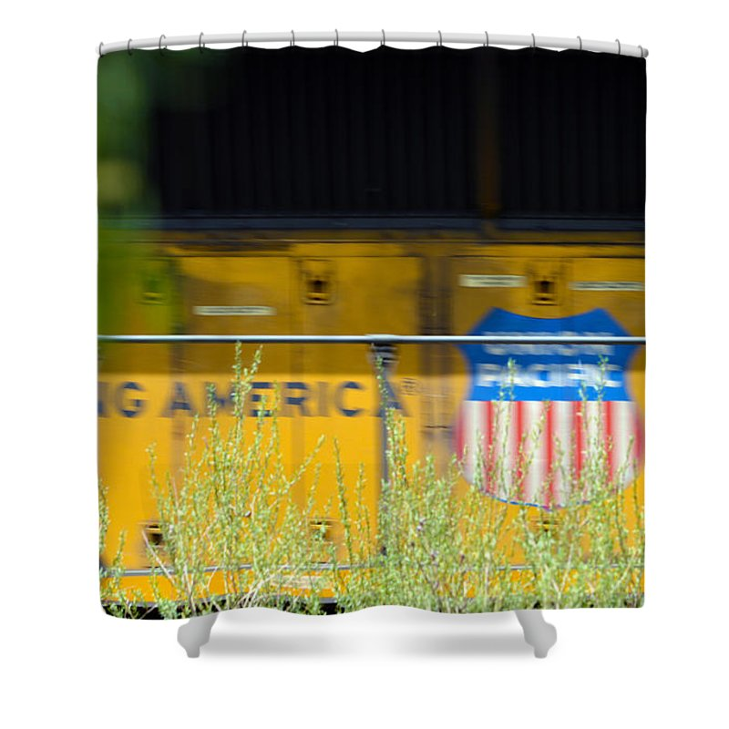 Train Shower Curtain featuring the photograph Building America by Brent Dolliver