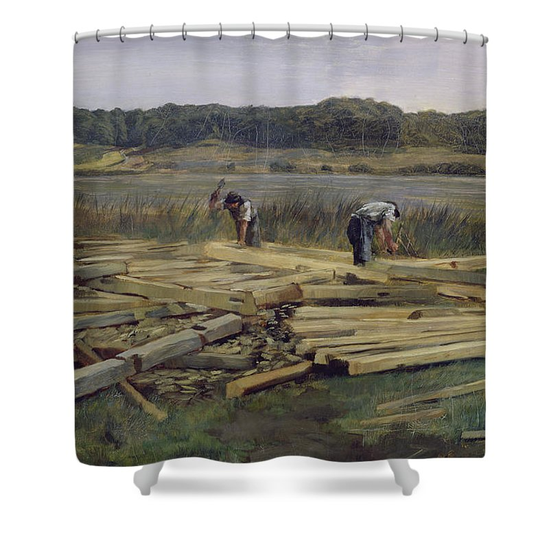 Timber Shower Curtain featuring the photograph Building Site At Wesslingersee, 1876 Oil On Canvas by Heinrich Wilhelm Truebner