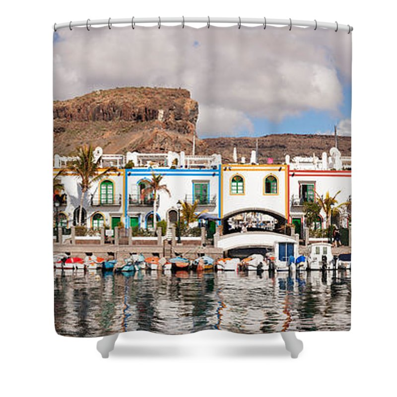 Photography Shower Curtain featuring the photograph Buildings At The Waterfront, Puerto De by Panoramic Images