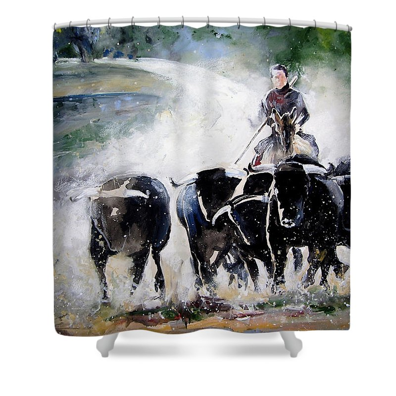Animals Shower Curtain featuring the painting Bull Herd by Miki De Goodaboom