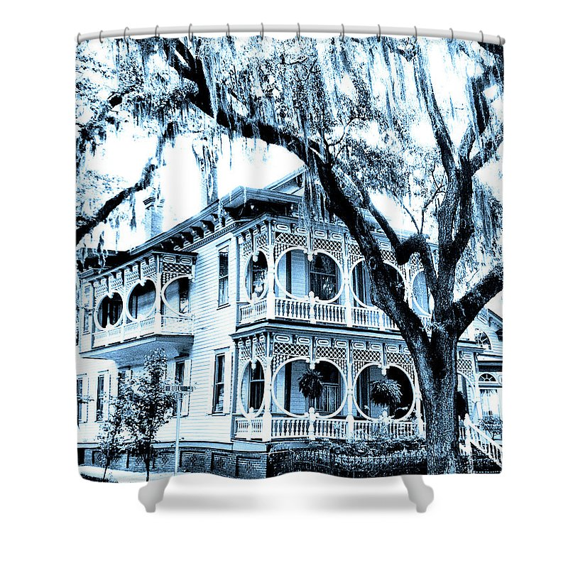 Savannah Shower Curtain featuring the photograph Bull Street House Savannah Ga by William Dey