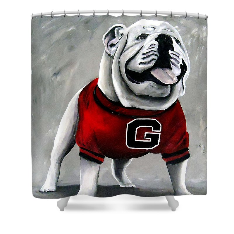 University Of Georgia Shower Curtain Featuring The Painting Uga Bulldog  Damn Good Dawg By Katie Phillips