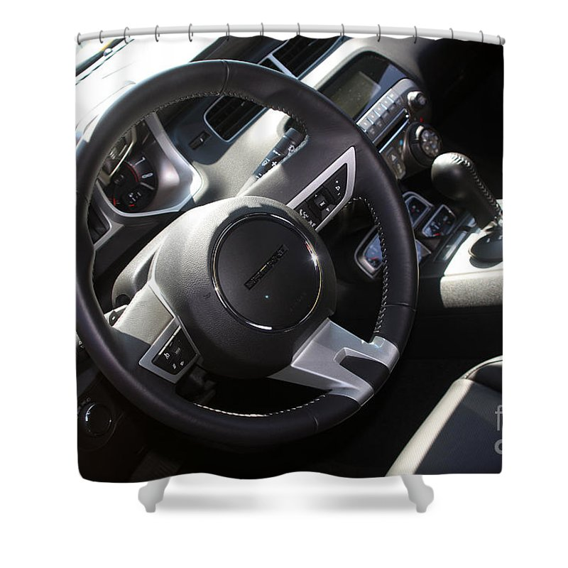 2011 Chevrolet Camaro Shower Curtain featuring the photograph Bumble Bee Interior-7943 by Gary Gingrich Galleries