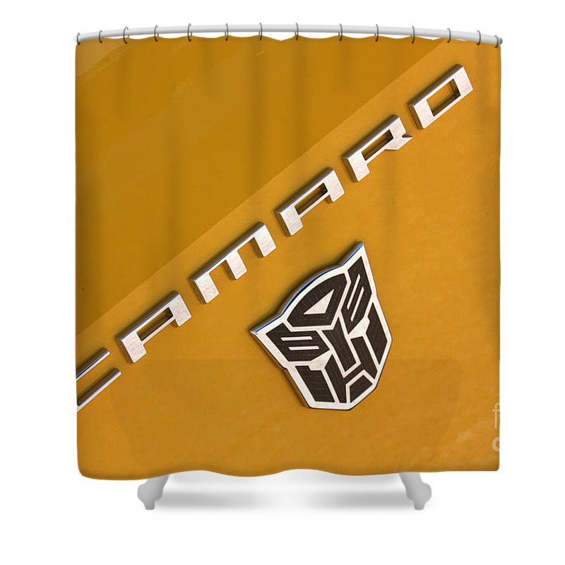 2011 Chevrolet Camaro Shower Curtain featuring the photograph Bumble Bee Logo-7938 by Gary Gingrich Galleries