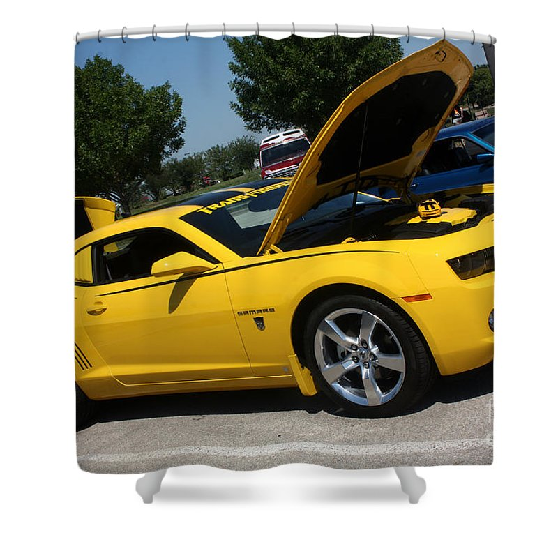 2011 Chevrolet Camaro Shower Curtain featuring the photograph Bumble Bee Side View 7904 by Gary Gingrich Galleries