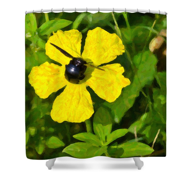 Bumblebee Shower Curtain featuring the digital art Bumblebee On Flower by Image World