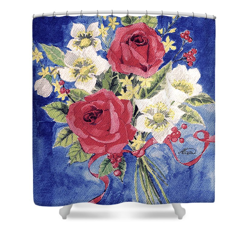 Bunch Of Flowers Shower Curtain featuring the painting Bunch Of Flowers by Alban Dizdari